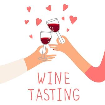 Концепция дегустации вин. красное вино и сердца. руки держат бокалы с напитками