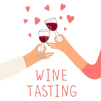Wine tasting concept. red wine and hearts. hands holding glasses of drinks