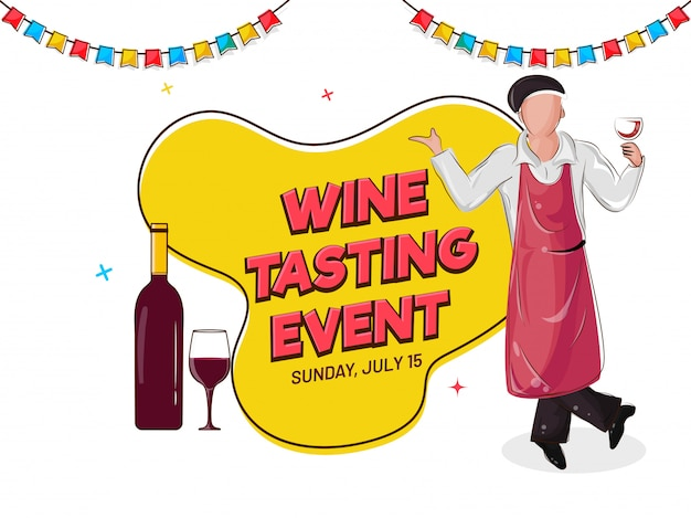 Wine tasting event banner or poster design with illustration of bar waiter