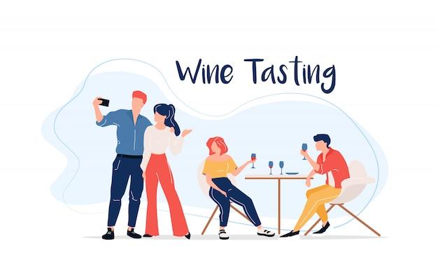 Дегустация вин плоского цвета безликих персонажей
