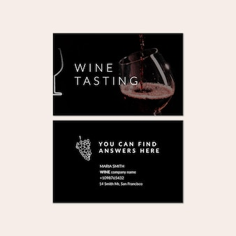Wine tasting horizontal business card template