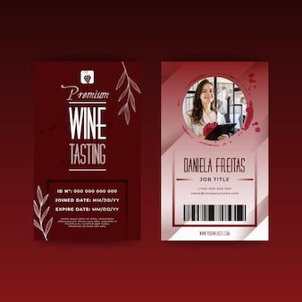 Modello di carta d'identità per degustazione di vini
