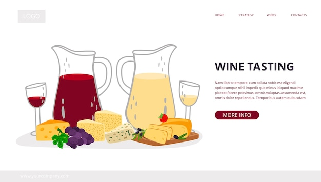 Wine tasting landing page. homemade craft wine with cheese
