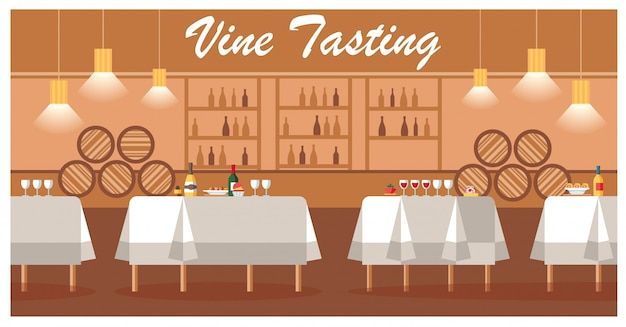Wine tasting in luxury winery flat vector banner
