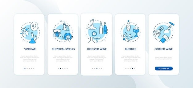 Wine tasting onboarding mobile app page screen with concepts. winemaking mistakes sign in wine walkthrough 5 steps graphic instructions. ui vector template with rgb color illustrations