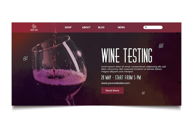Wine testing landing page template