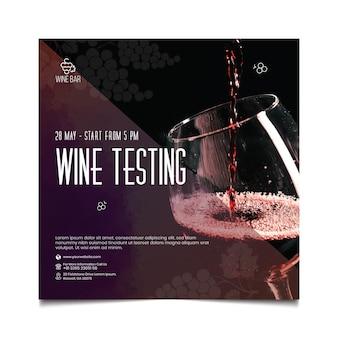 Modello di volantino quadrato per test del vino
