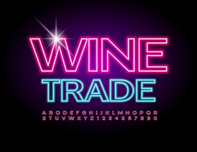 Wine trade neon trendy font modern alphabet letters and numbers set