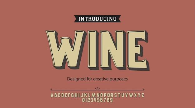 ワインの書体。ラベルおよび種類の異なるデザイン用