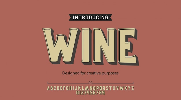 Wine typeface.for labels and different type designs
