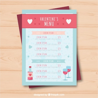 Wine valentine menu template
