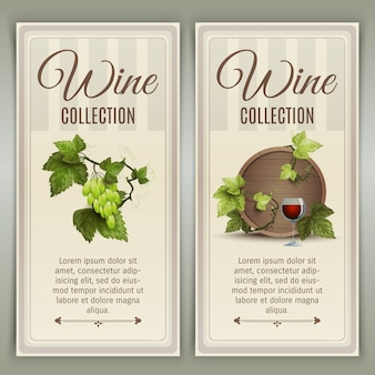 Wine vertical banners set