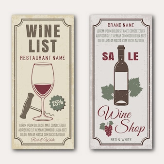 Wine vertical banners with bottle and glass bunch of grape