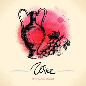 와인 빈티지 배경입니다. 수채화 손으로 그린 스케치 그림입니다. 메뉴 디자인