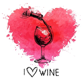 Wine vintage background with banner. hand drawn sketch illustration with splash watercolor heart
