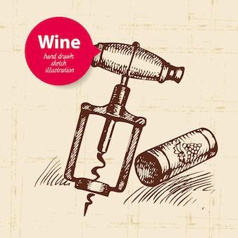 Вино старинный фон с баннером. нарисованная рукой иллюстрация эскиза