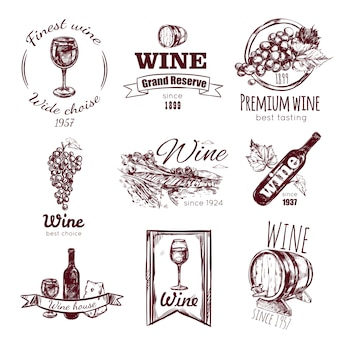 Wine vintage badge set