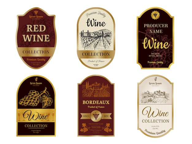 Wine vintage labels. alcohol wine champagne drinks badges luxury style with pictures of vineyard silhouettes and grapes pictures