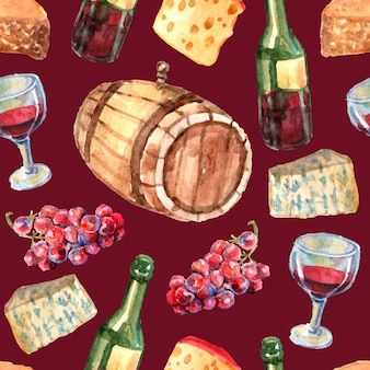 Wine watercolor seamless pattern with cheese grapes bottles and glass