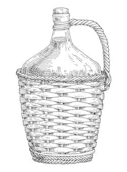 와인 고리 버들 병입니다. 빈티지 벡터 해칭 회색 단색 그림입니다. 흰색 배경에 고립. 손으로 그린 디자인