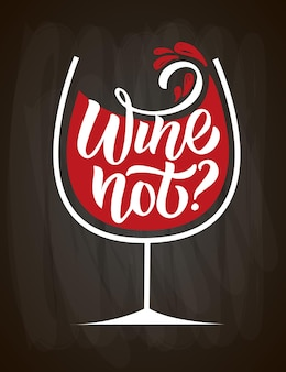 Wine not wine lettering modern calligraphy wine quote hand sketched inspirational quote poster