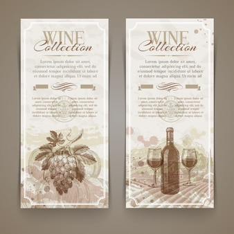 Wine and winemaking - grunge vintage banners with hand drawn elements