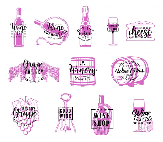 Wine and winery, winemaking company lettering