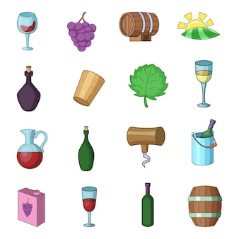 Wine yard icons set