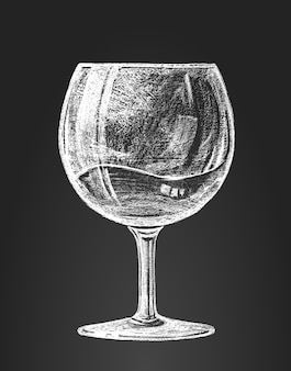 Wineglass on blackboard. rgb. global colors. organized by layers. gradients free