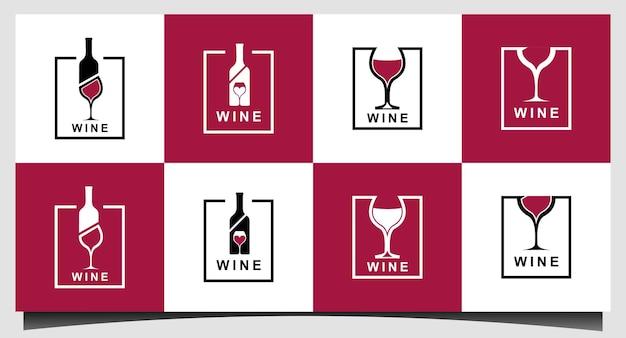 병 실루엣 로고 디자인이 있는 와인잔 잔 와인 음료