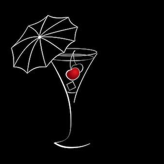 Рюмка коктейля с вишней и зонтиком