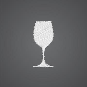 暗い背景で隔離のワイングラススケッチロゴ落書きアイコン