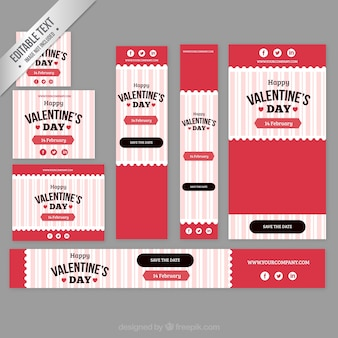 Wineglass valentine day banner collection