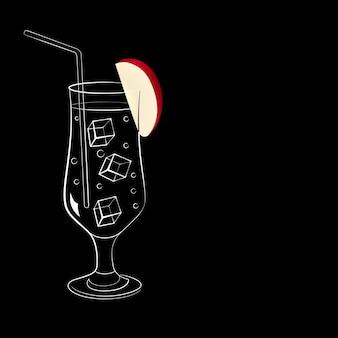 黒の背景にカクテルとリンゴとワイングラス