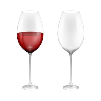 Wineglass with red wine. illustration isolated on background.