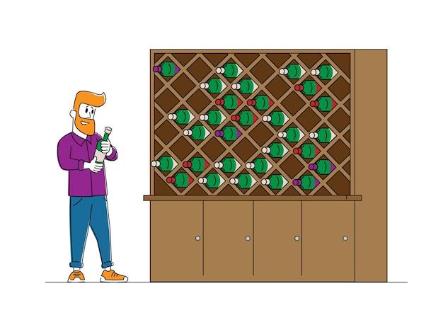 Винодел или дегустатор мужской персонаж стоит на деревянной полке