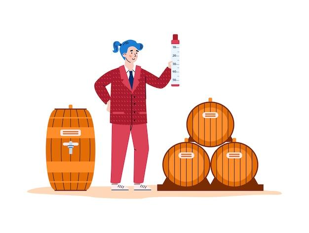 Winemaking process  aging wine in wooden barrels illustration