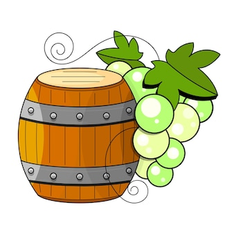 스케치 스타일의 포도주 양조 제품. 와인 배럴, 유리, 포도, 포도 나뭇가지, 물병이 있는 벡터 그림. 클래식 알코올 음료입니다.