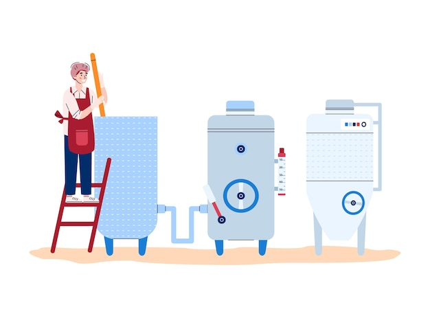 Winery employee observes the wine production process flat vector illustration