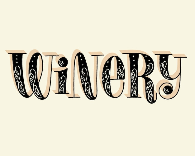Winery hand lettering text for restaurant winery vineyard festival
