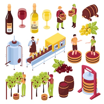 Winery isometric set vineyard with harvest pressing of grapes bottling conveyor drink in goblets isolated illustration
