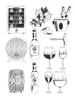 Winery and wine icons