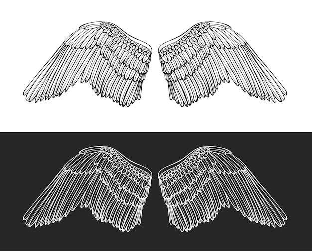 어둡고 밝은 배경에 날개 천사 손 그리기 스케치.