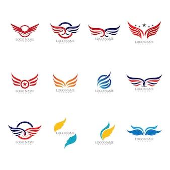 Крыло сокол логотип шаблон векторные иллюстрации дизайн