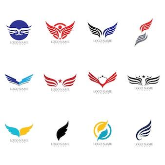 翼ファルコンロゴテンプレートベクトルイラストデザイン