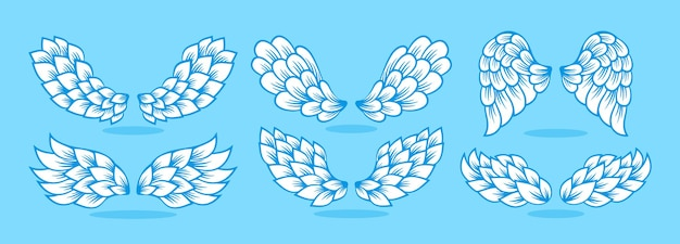Wing icon line set sign winged angel logo vector