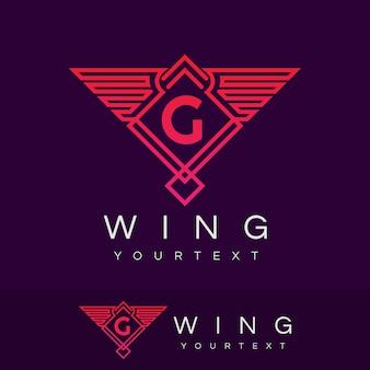 Wing initial letter g logo design