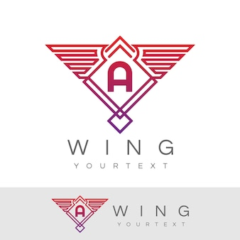 Wing initial letter a logo design