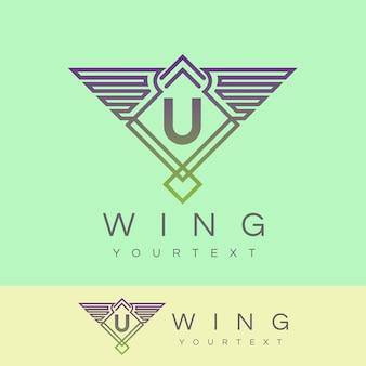 Wing initial letter u logo design