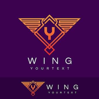 날개 초기 문자 y 로고 디자인